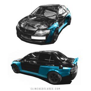 Mitsubishi Evolution widebody kit 12
