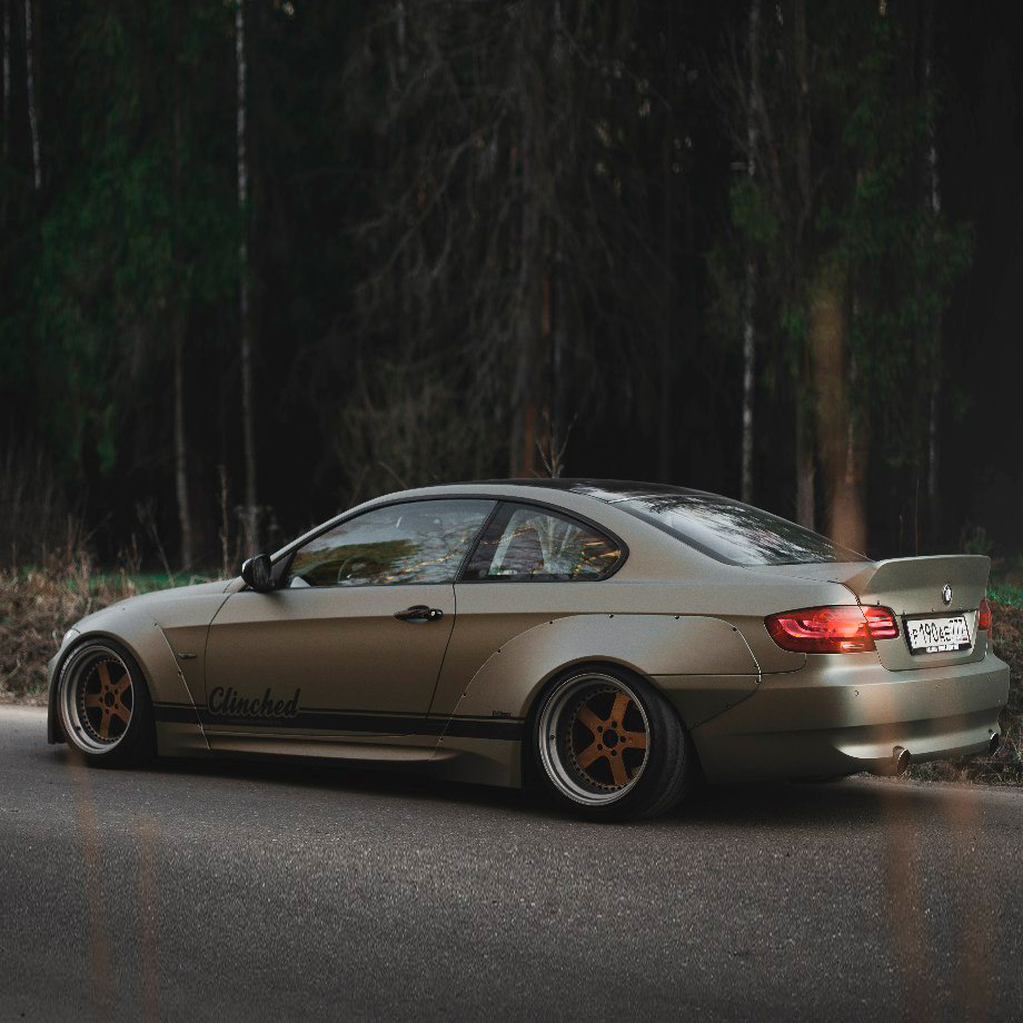 bmw e92 widebody kit by clinched in durable abs plastic 328i 335i m3. Black Bedroom Furniture Sets. Home Design Ideas
