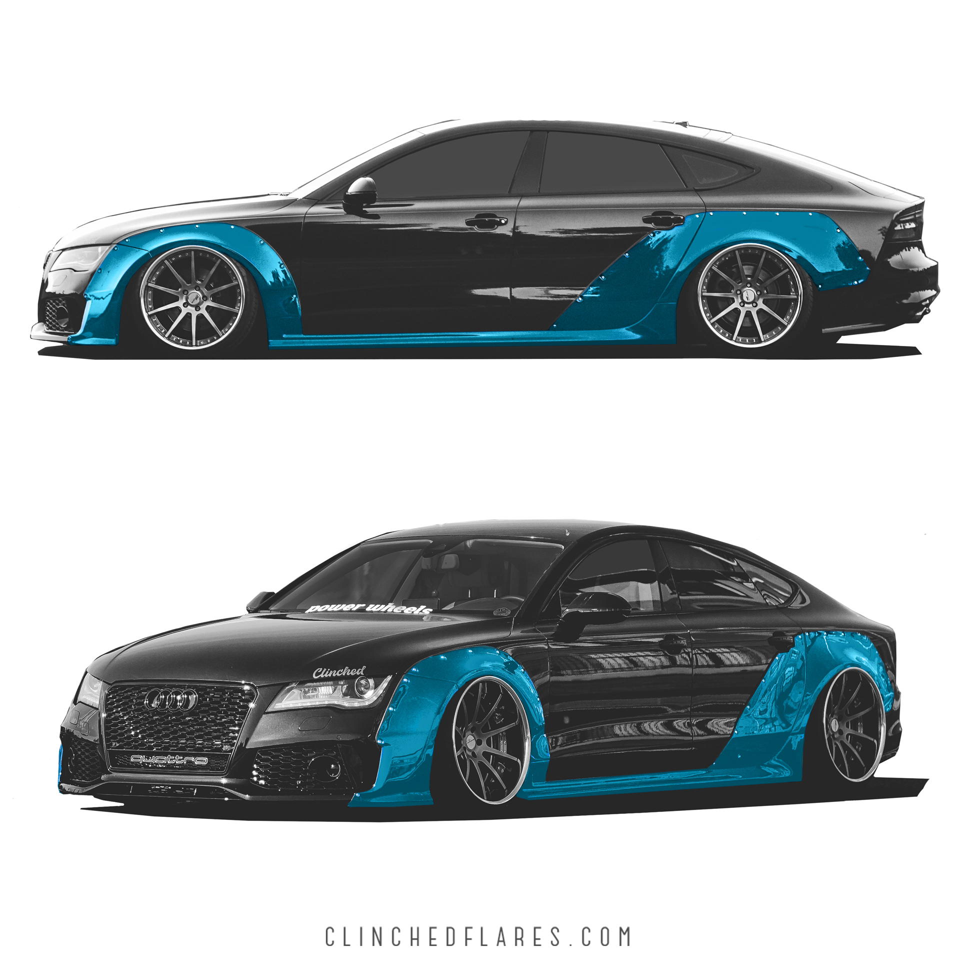 audi a7 widebody kit by clinched fits a7 s7 rs7. Black Bedroom Furniture Sets. Home Design Ideas