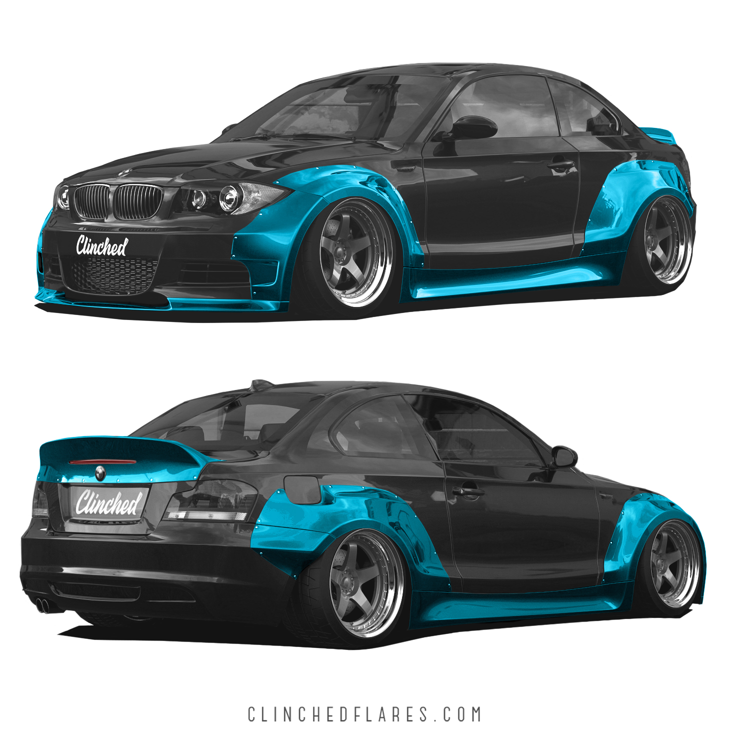 bmw e82 widebody kit by clinched fits 128i 135i. Black Bedroom Furniture Sets. Home Design Ideas