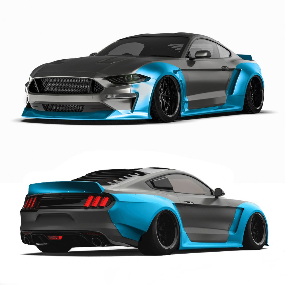 2018 ford mustang widebody kit fits 2018 ford mustang gt ecoboost. Black Bedroom Furniture Sets. Home Design Ideas